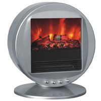 Silver Himalayan Circular Heater Electric Fireplace with 90 Degree Oscillation and Two Heat Settings picture