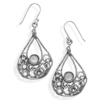 Sterling Silver Pear Shape Earrings with Shell