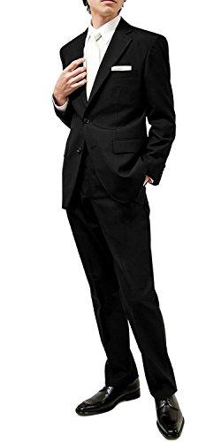 (ブラックフォーマル)BLACK FORMAL オールシーズン 2釦 シングル アジャスター機能 メンズ ブラックスーツ 体型:AB(ややゆったり)6
