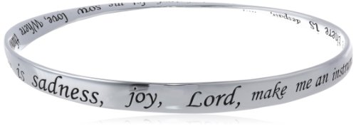"Sterling Silver ""Where There Is Sadness, Joy , Lord Make Me An Instrument Of Your Peace"" Bangle Bracelet"