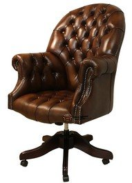 Chesterfield Directors Leather Office Chair Antique Autumn