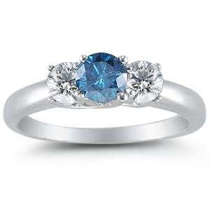 14K White Gold Round 3 Stone Blue Diamond &#038; White Diamond Ring (1/2 cttw) &#8211; Size 7