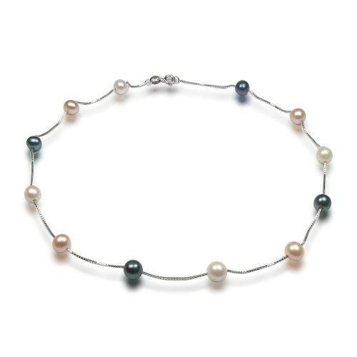 Bling Jewelry .925 Sterling Silver Multi-Color Genuine Freshwater Pearl Tin Cup Necklace - 16 in