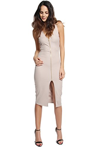 TheMogan Women's Sleeveless Ribbed Zip Front Split Bodycon Dress-Mocha-L
