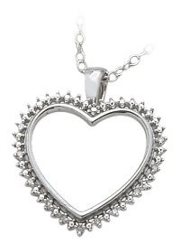 Ladies Genuine Sterling Silver White Diamond Heart Pendant with 16 inch chain
