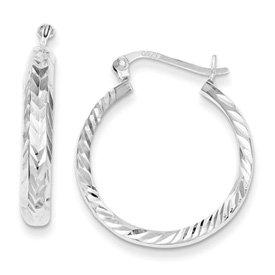 Genuine IceCarats Designer Jewelry Gift Sterling Silver 4Mm Diamond-Cut Hoop Earrings