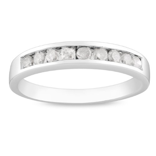 Sterling Silver 1/2 CT TDW Round White Diamond Anniversary Ring (G-H, I3)