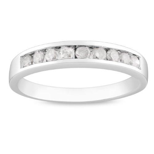 Sterling Silver 1/2 CT TDW Round White Diamond Anniversary Ring (G-H, I3)