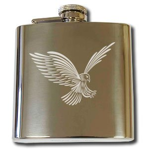 Personalised Engraved 6oz Hip Flask with Captive Top EAGLE Design, Birthday, Anniversary, Wedding
