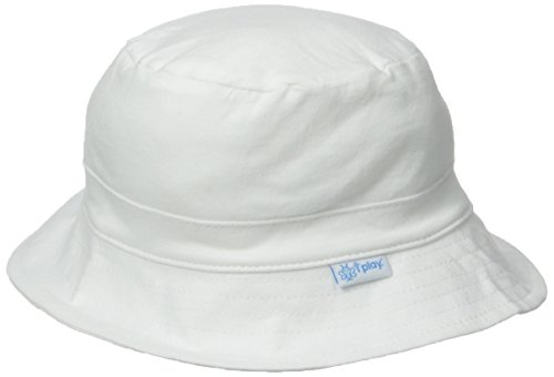 I play. Baby Organic Cotton Reversible Bucket Hat, White, 9-18 Months