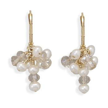 14/20 Gold Filled Cultured Freshwater Pearl and CZ Earrings
