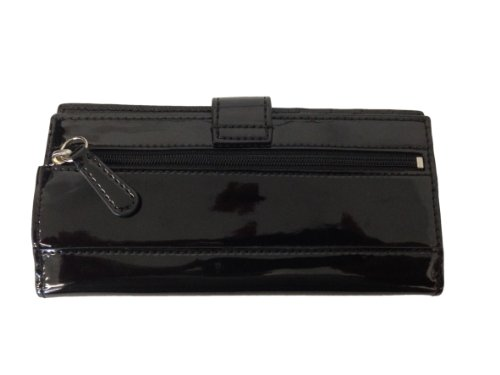 Coach   Coach Studded Liquid Gloss Multicase Skinny Checkbook Wallet - Black F50790