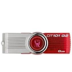 Kingston Digital 8 GB USB 2.0 Hi-speed Datatraveler Flash Drive DT101G2/8GBZ, Red