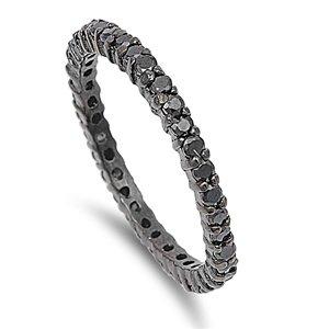 2mm Sterling Silver BLACK Stackable Handset BLACK ONYX CZ Eternity Engagement Ring 4-10 (5)