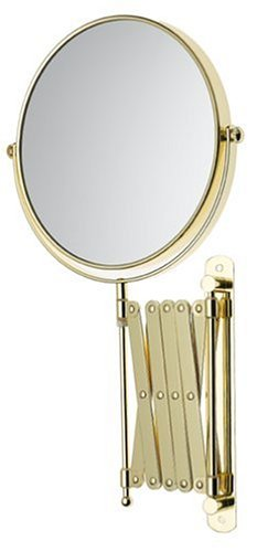 Jerdon JP2028G 8-Inch Two-Sided Swivel Wall Mount Mirror with 7x Magnification, 24-Inch Extension, Gold Finish