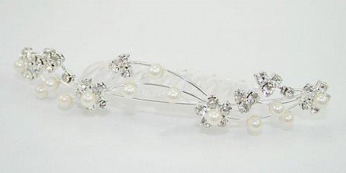 LJ Designs Diamante Flower and Pearl Tiara Comb (T28)