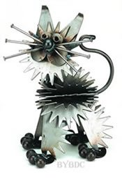 Fluffy Junkyard Kitten Metal Sculpture