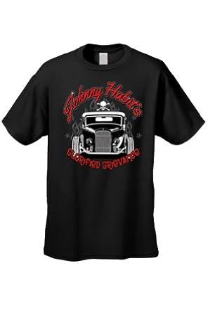 Men's/Unisex Johnny Habits Vintage Auto BLACK Short Sleeve T-shirt (Small)