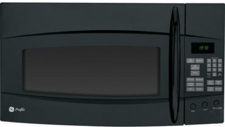 Profile Spacemaker Series 1.9 cu. ft. Over-the-Range Microwave Oven with 4-Speed Venting System Sensor Cooking 1 000 Cooking Watts and Steam Cook Button Black