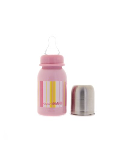 Stainless Steel Baby Bottle By Organickidz - Pink Stripes 4Oz.