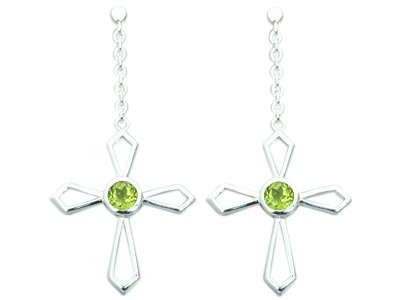 1.25 Ct.T.W. Genuine Round Peridot in Sterling Silver Rhodium Finish Cross Earrings