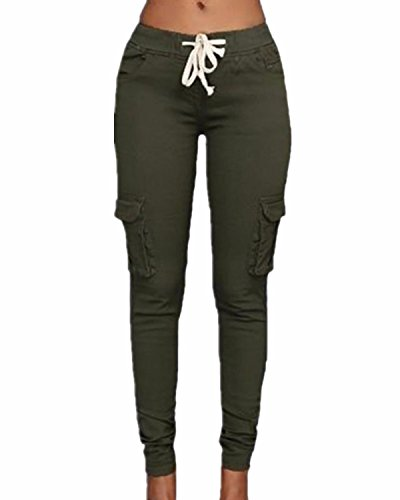 StyleDome Pantaloni Lunghi Moda Coulisse Tasche Casuali Eleganti Ufficio Cotone per Donna Verde Militare IT 40-42