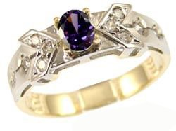 14k Yellow Gold White Rhodium, Elegant Design Dainty Ring with Lab Created Oval Shape Purple Violet Colored Stone