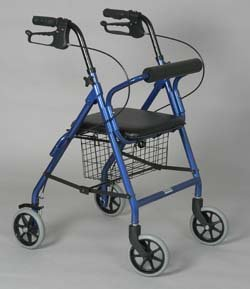 """Rollator - Dark Blue Junior For a person 4' 9"""" to 5' 2"""". Lightweight aluminum frame. Soft padded seat. Handles are adjustable for different heights. Removable basket fits under the seat. Locking hand brakes. 6"""" front and rear tires. Push button removable backrest. Limited lifetime warranty on the frame. Weight capacity: 250 lbs.. Seat width: 13"""". Seat height: 19""""."""