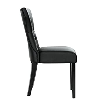 Modway Silhouette Tufted Faux Leather Parsons Dining Side Chair in Black