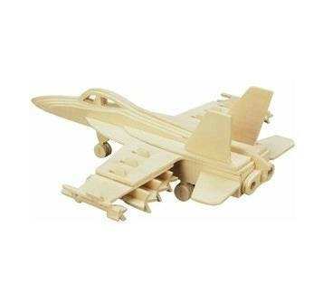 Blue ELF ® 3D Jigsaw Woodcraft Kit Wooden Toy Puzzle Model--F-18 Hornet - 1