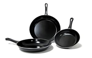 Imperial Home 3 Pcs Non-stick Carbon Steel Fry Pan Set