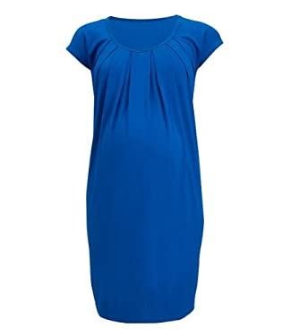 Maternity Blue Jersey Short Sleeve Dress