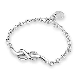 Platinum Plated 925 Sterling Silver Couple Love Hypoallergenic Infinity Bracelet, Women Jewellery Gift