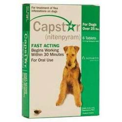 Novartis Capstar Flea Treatment Green Tabs for Dogs 25 Pounds or Over, 6 Tablets