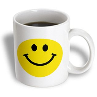 3Drose Yellow Smiley Face Cute Traditional Happy Smilie, Ceramic Mug, 15-Oz