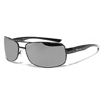 X-Loop Lunettes de Soleil Aviator - Ville - Mode - Fashion - Clubbing - Conduite - Moto - Plage / Mod. 3060 Noir Argent Miroir / Taille Unique Adulte / Protection 100% UV400