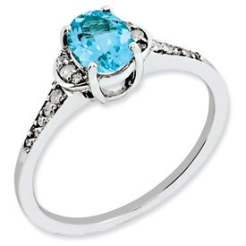 Genuine IceCarats Designer Jewelry Gift Sterling Silver Diamond & Light Swiss Blue Topaz Ring Size 8.00