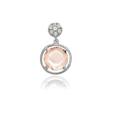 Cute Fashion Necklace Pendant Jewelry Sterling Silver Small CZ Circle w/ Hanging Champagne Circle CZ Design(WoW !With Purchase Over $50 Receive A Marcrame Bracelet Free)