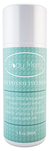 Eye Cream for Under Eye Dark Circles, Wrinkles, Puffiness, Crow's Feet, Fine Lines & Bags - By Body Merry - BEST Natural & Organic Anti-Aging Formula (Peptides, Retinol, Hyaluronic Acid, Cucumber & More) - Also for Men! - 100% Money Back Guarantee When You BUY NOW!