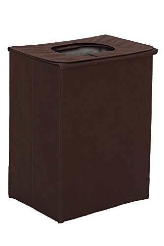 StorageManiac Heavy-Duty Folding Portable Clothes Laundry Hamper with Lid and Handles, Brown (Laundry Hamper Portable compare prices)