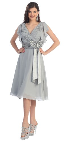 Mother of the Bride Formal Short Dress #994 (X-Large, Silver)