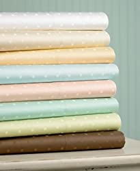 "Martha Stewart Collection ""600 Thread Count"" Jacquard Dot Pillowcases, Standard Pair Chestnut"
