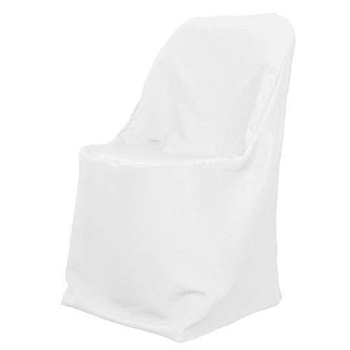 Spring Rose(TM) White Polyester Standard Folding Wedding Chair Covers (set of 10). These Are Made For Standard Metal and Plastic Folding Chairs.