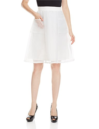 Miss Chase Women's A-Line Skirt (MCAW15BT06-18-82_White_X-Large )