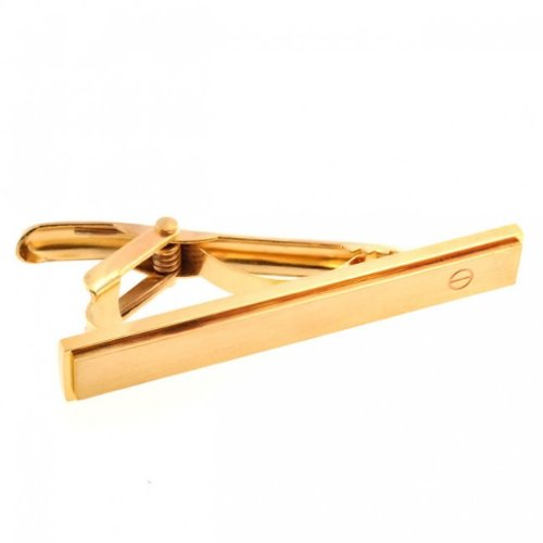 Bling Jewelry Gold Plated Matte Stainless Steel Slim Mens Hinged Tie Clip