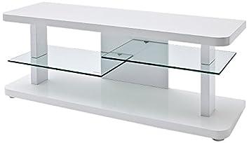 Robas Lund 59078W14 TV-mueble para Cult, blanco brillante, 2 estantes de vidrio, B/T/H aproximadamente 110 x 40 x 50 cm