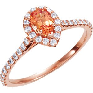 14k Rose-Gold Halo-Style Pear Shaped Semi-Mount Engagement Ring Or Matching Band by US Gems, Size: 7 from US Gems