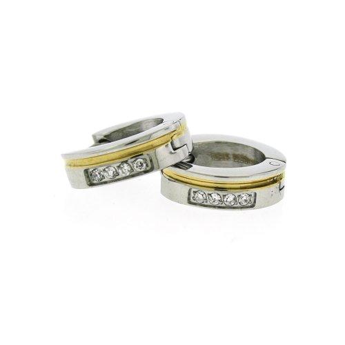 Ladies Stainless Steel Two Tone White Crystal Hoop Huggies Earrings