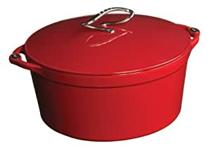 Lodge Enamel on Cast Iron 7 Quart Dutch Oven, Patriot Red