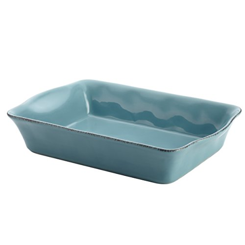 Rachael Ray Cucina Stoneware 9-Inch x 13-Inch Rectangular Baker, Agave Blue (Rachael Ray Stoneware Cookware compare prices)